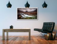 Fairy Pools Swirl - White Maple floater frame with acrylic glazing on Wall