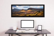 Morning sunshine on the mountains of the Quiraing of the Trotternish range on the Isle of Skye - Black oak floater frame with acrylic glazing on Wall
