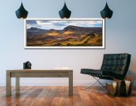Morning sunshine on the mountains of the Quiraing of the Trotternish range on the Isle of Skye - White Maple floater frame with acrylic glazing on Wall