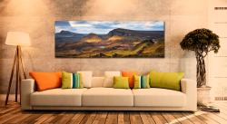 Morning sunshine on the mountains of the Quiraing of the Trotternish range on the Isle of Skye - Print Aluminium Backing With Acrylic Glazing on Wall