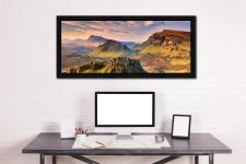 Trotternish Mountains Isle of Skye - Black oak floater frame with acrylic glazing on Wall