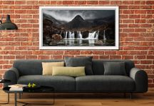 Fairy Pools Waterfall - White Maple floater frame with acrylic glazing on Wall