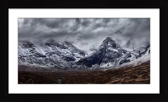 Black Cuillins Snow Fall - Framed Print with Mount