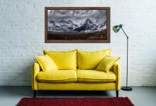 Black Cuillins Snow Fall - Walnut floater frame with acrylic glazing on Wall