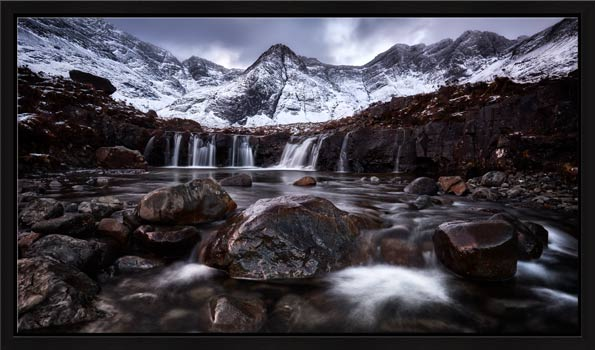 Fairy Pools Rocks Mountains Snow - Modern Print