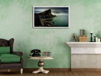 Neist Point Lighthouse Green - White Maple floater frame with acrylic glazing on Wall