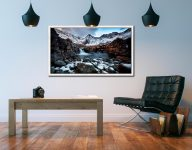 Spring Snow Fairy Pools - White Maple floater frame with acrylic glazing on Wall