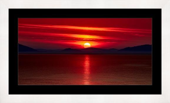 Red Sunset Over Outer Hebrides - Framed Print