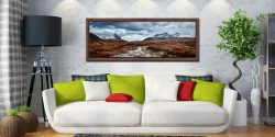 Glen Sligachan river with snow covered Cuillin mountains in the distance - Walnut floater frame with acrylic glazing on Wall
