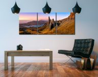 Old Man Storr Golden Light - 3 Panel Canvas on Wall