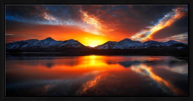 Winter Sunset Over Derwent Water - Modern Print