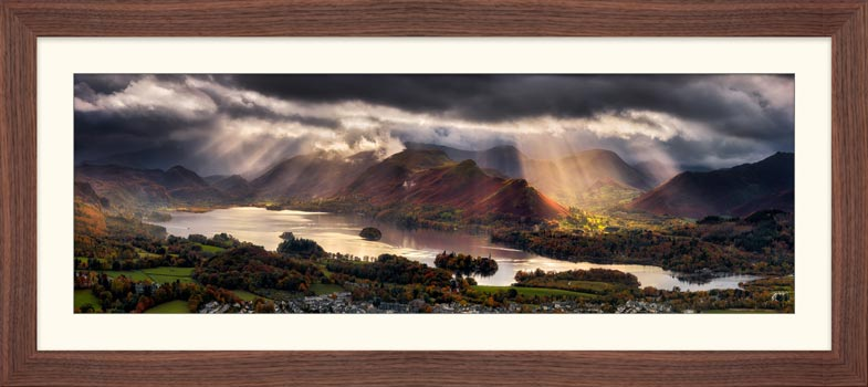 Darkness and Light Over Derwent Water - Framed Print with Mount