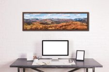 The Langdale Mountains - Walnut floater frame with acrylic glazing on Wall