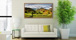 Green Fields of Martindale - Oak floater frame with acrylic glazing on Wall