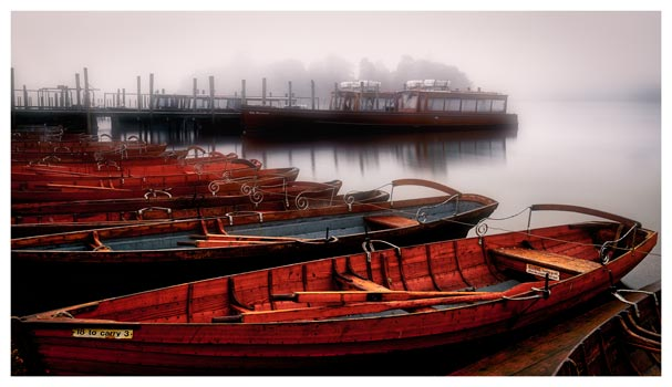 Red Boats in the Mist - Lake District Print