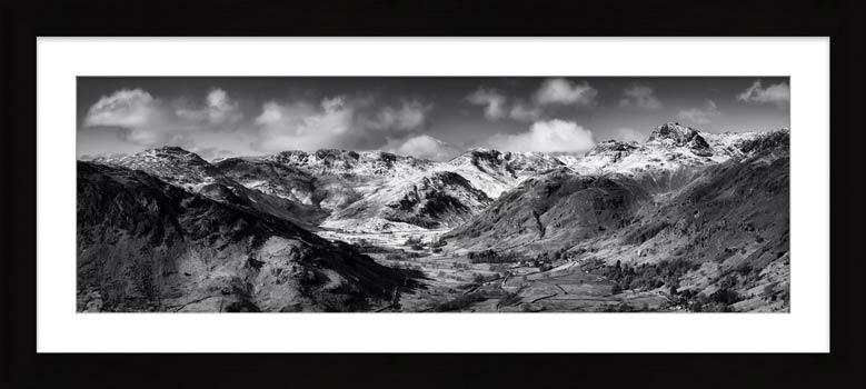 Great Langdale Valley in Winter - Black White Framed Print