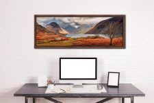 The last colours of Autumn fading away at Wast Water - Walnut floater frame with acrylic glazing on Wall