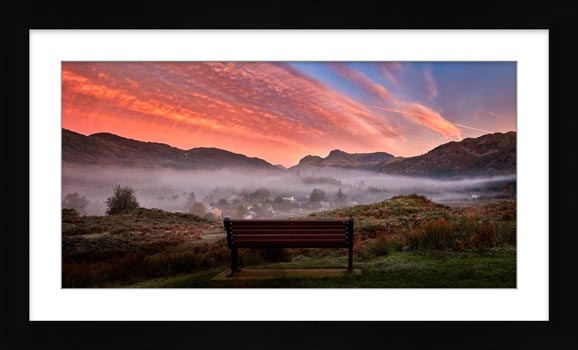 Dawn Mists Over Elterwater Village - Framed Print with Mount