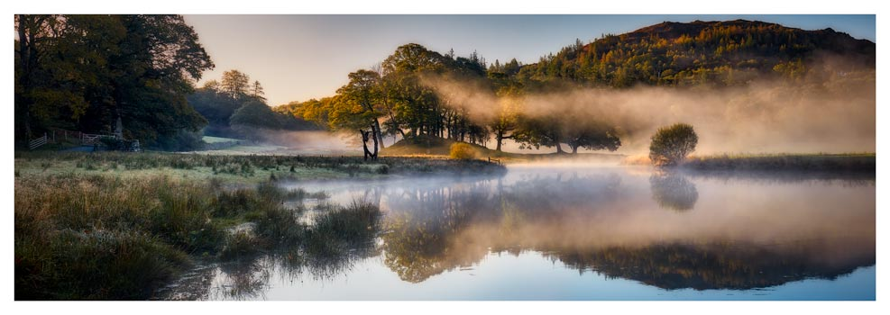 River Brathay Misty Panorama - Lake District Print