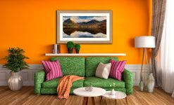 Buttermere Evening Light - Framed Print with Mount on Wall