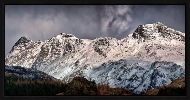 Snow on the Langdales - Modern Print