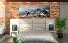 Snow on the Langdale Pikes - 3 Panel Canvas on Wall