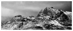 Snow on the Langdale Pikes - Black and White Print
