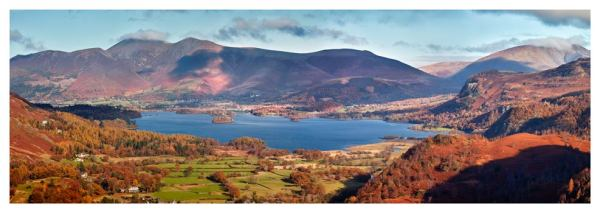 Derwent Water Autumn Panorama - Prints of Lake District