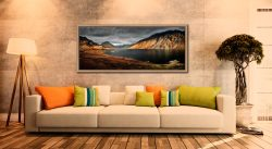 Autumn sunshine on Skiddaw and Derwent Water - Oak floater frame with acrylic glazing on Wall