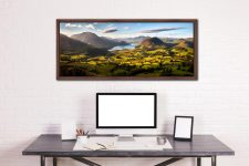 Wonderful view down the Buttermere valley from Loweswater Fell on a summer's morning - Walnut floater frame with acrylic glazing on Wall