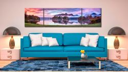 Derwent Water Sunrise - 3 Panel Wide Centre Canvas on Wall