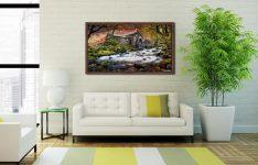 Borrowdale Mill - Walnut floater frame with acrylic glazing on Wall