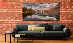 Grey Skies Over Buttermere - 3 Panel Wide Centre Canvas on Wall