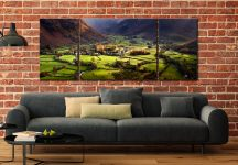 Autumn Colours of Borrowdale - 3 Panel Wide Mid Canvas on Wall