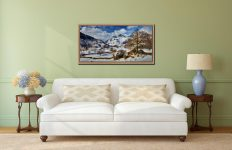 The Langdale Boulders in Winter - Oak floater frame with acrylic glazing on Wall