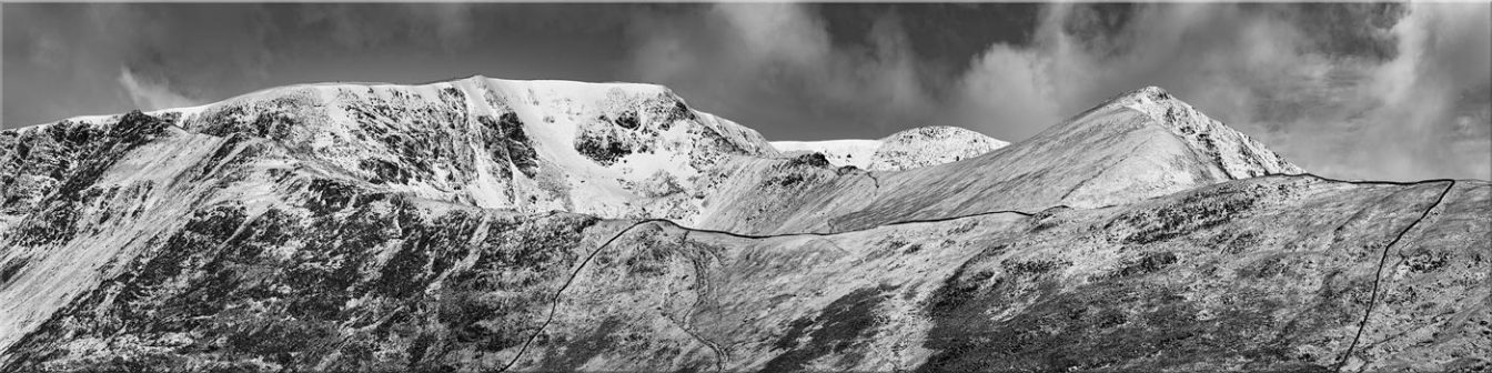 Snow Capped Helvellyn Mountains - Black White Canvas