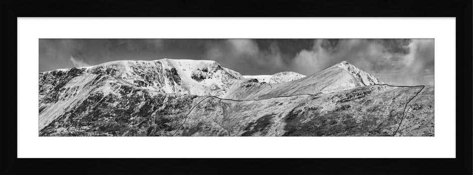 Snow Capped Helvellyn Mountains - Black White Framed Print
