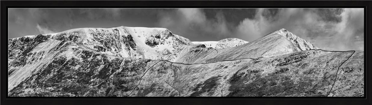 Snow Capped Helvellyn Mountains - Modern Print Black White