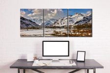 Snow on the Mountains of Langdale - 3 Panel Canvas on Wall