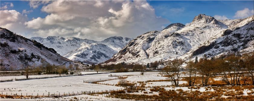 Snow on the Mountains of Langdale - Lake District Canvas