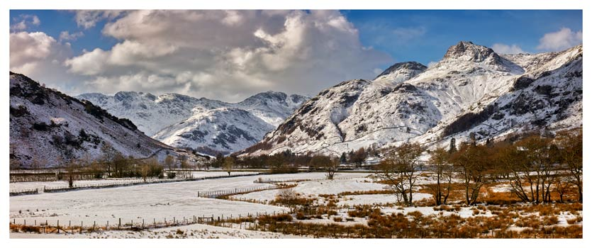 Snow on the Mountains of Langdale - Lake District Print