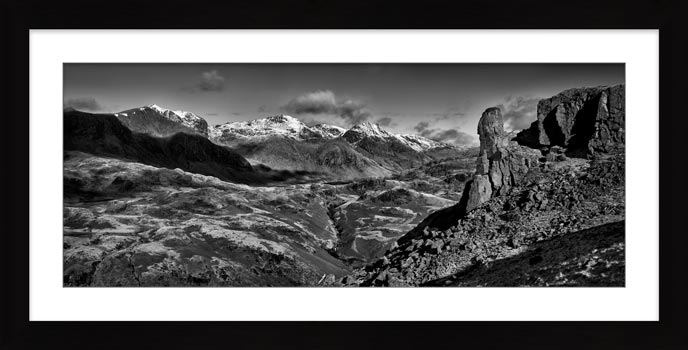 Eskdale Needle Winter Panorama - Black White Framed Print