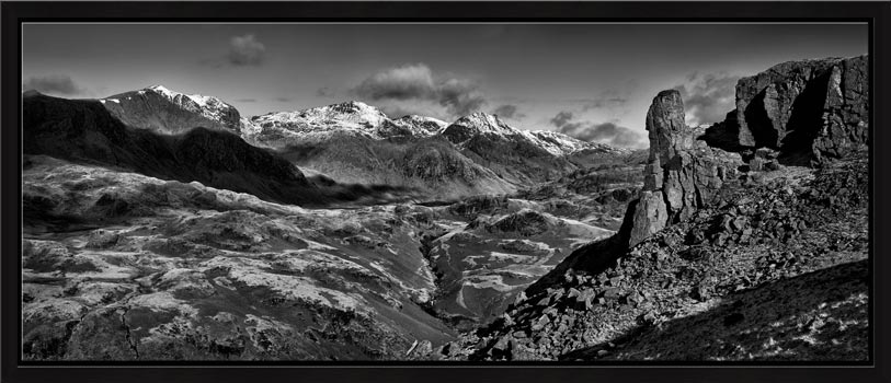 Eskdale Needle Winter Panorama - Black White Modern Print