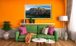 The Langdale Pikes in the Morning Light - White Maple floater frame with acrylic glazing on Wall