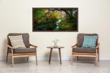 Autumn colours around the River Derwent in the Borrowdale Valley in the Lake District - Walnut floater frame with acrylic glazing on Wall