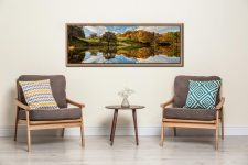 A beautiful sunny autumn morning at Loughrigg Tarn in Langdale - Oak floater frame with acrylic glazing on Wall