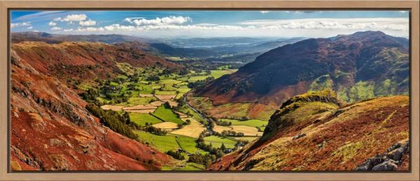 View down the Great Langdale Valley from above Pike Howe
