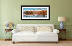 Derwent Water Red Mountains - Framed Print with Mount on Wall