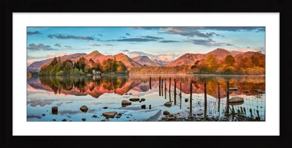 Derwent Water Red Mountains - Framed Print with Mount