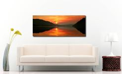 A lovely golden sunrise over Ullswater - Print Aluminium Backing With Acrylic Glazing on Wall